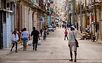 HAVANA, CUBA - CIRCA MARCH 2017: Typical view of people walking on the streets of Havana