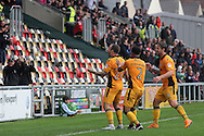 Newport County's Sean Rigg (l) celebrates with teammates  after scoring his sides 1st and equalising goal. Skybet EFL league two match, Newport county v Crewe Alexandra at Rodney Parade in Newport, South Wales on Saturday 20th August 2016.<br /> pic by David Richards, Andrew Orchard sports photography.