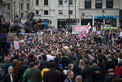 © Licensed to London News Pictures. 29/08/2020. London, UK. Protestors at Trafalgar Square, central London; demonstrate against lockdown and to stop 5G. Photo credit: Marcin Nowak/LNP