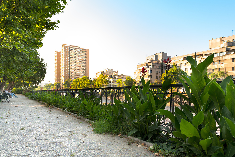 Cityscape of the riverside of Mapocho river at downtown Santiago.