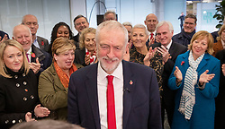 © Licensed to London News Pictures. 29/10/2019. London, UK. Labour Party Leader Jeremy Corbyn is applauded by the  shadow cabinet as he speaks at party headquarters in support of an early general election. The government are expected to call for another vote on a general election in Parliament later today. Photo credit: Peter Macdiarmid/LNP