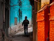 05 MARCH 2017 - KATHMANDU, NEPAL: A man walks on a street in Kathmandu, Nepal.     PHOTO BY JACK KURTZ