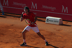 May 3, 2018 - Estoril, Portugal - Stefanos Tsitsipas of Greece celebrates his victory over Kevin Anderson of South Africa during the Millennium Estoril Open ATP 250 tennis tournament, at the Clube de Tenis do Estoril in Estoril, Portugal on May 3, 2018. (Credit Image: © Pedro Fiuza/NurPhoto via ZUMA Press)