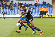 Wimbledon forward Michael Folivi (41), on loan from Watford, in action  during the EFL Sky Bet League 1 match between Shrewsbury Town and AFC Wimbledon at Greenhous Meadow, Shrewsbury, England on 2 March 2019.