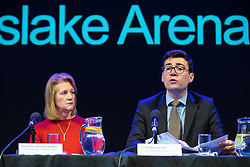 © Licensed to London News Pictures. 27/03/2018. Salford, UK. Deputy Mayor and Mayor of Greater Manchester BEV HUGHES and ANDY BURNHAM . The Kerslake Report in to the terrorist bombing of an Ariana Grande concert at the Manchester Arena on 22nd May 2017 , ordered by Greater Manchester Metro Mayor Andy Burnham , is published at a press conference at the University of Salford , at Media City . Amongst praise for many connected with the events, the report also highlights failings in communication at Greater Manchester Fire and Rescue on the night and disreputable behaviour by some sections of the media in the aftermath of the attack . Photo credit: Joel Goodman/LNP