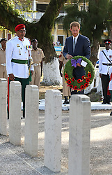 Prince Harry lays a wreath at the Commonwealth War Graves in Georgetown, Guyana after arriving in the South American country on the final stop of his 15-day tour of the Caribbean.