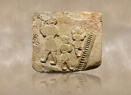 Landscape picture of Alaca Hoyuk Sphinx Gate Hittite monumental relief sculpted orthostat stone panel. Andesite, Alaca, Corum, 1399 - 1301 B.C. Jugglers and acrobats.  Anatolian Civilizations Museum, Ankara, Turkey<br /> <br /> The juggler facing towards left, with long hair and a short dress, swallows a dagger; the smaller acrobats behind go up the stairs without holding on. All the figures have horned headdresses and earrings with a huge ring on their ears. It is thought that the acrobats are of different nationality, which is the reason why they are depicted smaller. <br /> <br /> Against a brown art background. .<br />  <br /> If you prefer to buy from our ALAMY STOCK LIBRARY page at https://www.alamy.com/portfolio/paul-williams-funkystock/hittite-art-antiquities.html . Type - Aalca Hoyuk - in LOWER SEARCH WITHIN GALLERY box. Refine search by adding background colour, place, museum etc.<br /> <br /> Visit our HITTITE PHOTO COLLECTIONS for more photos to download or buy as wall art prints https://funkystock.photoshelter.com/gallery-collection/The-Hittites-Art-Artefacts-Antiquities-Historic-Sites-Pictures-Images-of/C0000NUBSMhSc3Oo