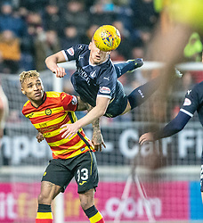 Falkirk's Scott Harrison over Partick Thistle's Jai Quitongo. Falkirk 1 v 1 Partick Thistle, Scottish Championship game played 17/11/2018 at The Falkirk Stadium.
