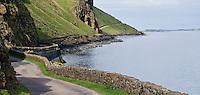 Winding single lane road along cliff  above Loch Na Keal, Isle of Mull, Scotland