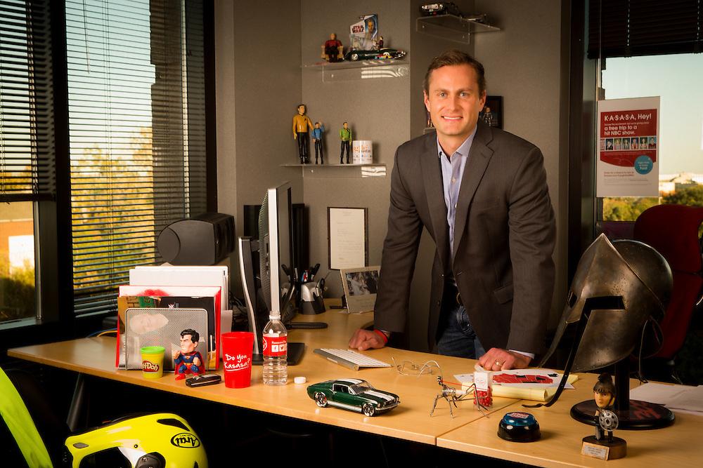 AUSTIN, TX - NOVEMBER 19: Gabriel Krajicek, CEO of BancVue, photographed in his office at BancVue headquarters in Austin, Texas on November 19, 2013. Photograph © 2013 Darren Carroll
