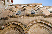 Israel, Jerusalem, Old City, Exterior of the Church of the Holy Sepulchre close up of the architectural details