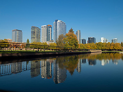 United States, Washington, Bellevue, skyline viewed from Downtown Park with reflection