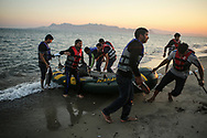Eight Pakistani migrants arrive on the greek island of Kos on the early morning of July 6, 2015. Like many, these migrants had to use paddles to row their way across the Aegean and Mediterranean seas to Europe because their small engine did not work. Migrants are sometimes not even supplied with an engine by smugglers.