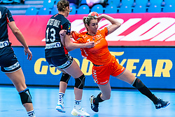 Kari Brattset Dale of Norway, Lois Abbingh of Netherlands in action during the Women's EHF Euro 2020 match between Netherlands and Norway at Sydbank Arena on december 10, 2020 in Kolding, Denmark (Photo by RHF Agency/Ronald Hoogendoorn)