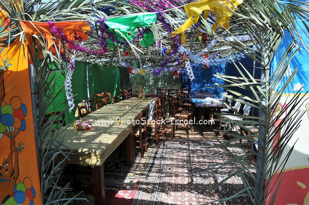 Interior of a Sukkah during Sukkoth.