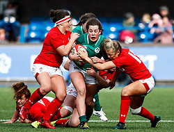 Enya Breen of Ireland  under pressure from Hannah Jones of Wales <br /> <br /> Photographer Simon King/Replay Images<br /> <br /> Six Nations Round 5 - Wales Women v Ireland Women- Sunday 17th March 2019 - Cardiff Arms Park - Cardiff<br /> <br /> World Copyright © Replay Images . All rights reserved. info@replayimages.co.uk - http://replayimages.co.uk