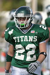 22 October 2005: Titan DB Brian Smith. The Illinois Wesleyan Titans posted a 23 - 14 home win by squeeking past the Thunder of Wheaton College at Wilder Field (the 5th oldest collegiate field in the US) on the campus of Illinois Wesleyan University in Bloomington IL