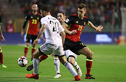 October 10, 2017 - Brussels, BELGIUM - Cyprus' Grigoris Kastanos and Belgium's Thomas Meunier fight for the ball during a soccer game between Belgian national team Red Devils and Cyprus, in Brussels, Tuesday 10 October 2017, game 9 in Group H of the qualifications for the 2018 World Cup. BELGA PHOTO VIRGINIE LEFOUR (Credit Image: © Virginie Lefour/Belga via ZUMA Press)