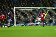 Everton Goalkeeper Jordan Pickford is unable to stop the shot from Jesse Lingard of Manchester United (14 on left) who scores his teams 2nd goal. Premier league match, Everton v Manchester Utd at Goodison Park in Liverpool, Merseyside on New Years Day, Monday 1st January 2018.<br /> pic by Chris Stading, Andrew Orchard sports photography.