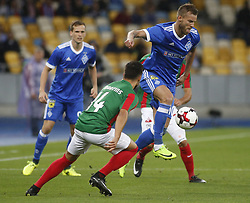 August 24, 2017 - Andriy Yarmolenko    (R) of Dynamo vies for the ball with Luís Martins   (L) of Maritimo  during the Europa League second play-off soccer match between FC Dynamo Kyiv and FC Maritimo, at the Olimpiyskyi stadium in Kyiv, Ukraine, August 24, 2017. (Credit Image: © Anatolii Stepanov via ZUMA Wire)