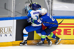 Nikita Mikhailis of Kazakhstan and Andrej Hebar of Slovenia during ice hockey match between Slovenia and Kazakhstan at IIHF World Championship DIV. I Group A Kazakhstan 2019, on April 29, 2019 in Barys Arena, Nur-Sultan, Kazakhstan. Photo by Matic Klansek Velej / Sportida