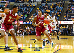 Nov 28, 2018; Morgantown, WV, USA; Rider Broncs guard Stevie Jordan (23) drives down the lane during the first half against the West Virginia Mountaineers at WVU Coliseum. Mandatory Credit: Ben Queen-USA TODAY Sports