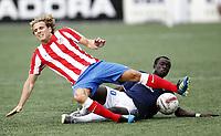 Fotball , 4. august 2011, Europa League 3rd. Qual<br /> Strømsgodset - Atletico Madrid<br /> <br /> Mohammed Abu , SIF<br /> Diego Forlan , AM