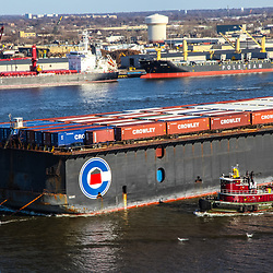 Aerial view of Shipping Traffic Along the Delaware River,Crowley Container Ships