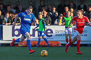 AFC Wimbledon defender Steve Seddon (15) dribbling during the EFL Sky Bet League 1 match between AFC Wimbledon and Charlton Athletic at the Cherry Red Records Stadium, Kingston, England on 23 February 2019.