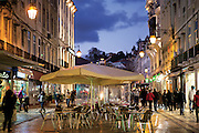 Rua Augusta, with esplanades and closed to the traffic, is the busiest street of Baixa district, in central Lisbon