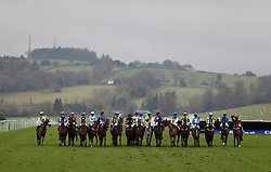 The field forms for the start of the Coral Welsh Grand National Handicap Chase during Coral Welsh Grand National Day at Chepstow Racecourse, Chepstow.
