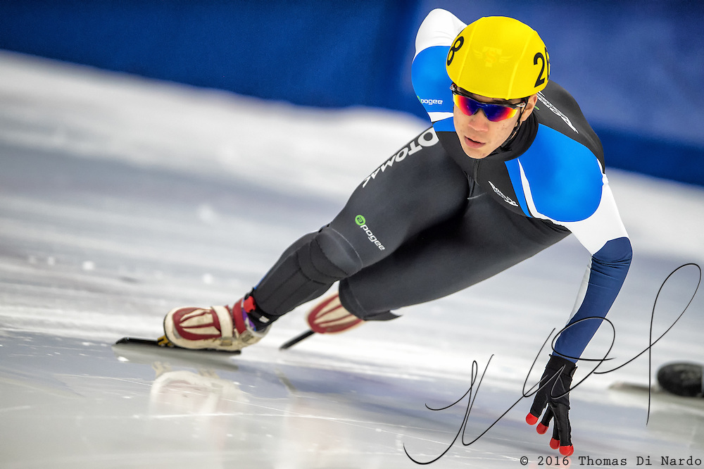 March 18, 2016 - Verona, WI - Shaner LeBauer, skater number 268 competes in US Speedskating Short Track Age Group Nationals and AmCup Final held at the Verona Ice Arena.