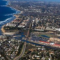 USA, California, San Diego. Del Mar aerial over San Dieguito Lagoon and Racetrack.