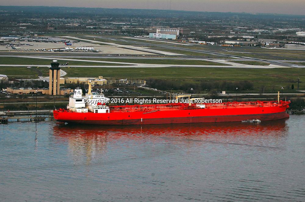 Aerial view of Petroleum shipping  Tanker outside Philadelphia