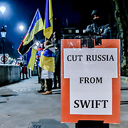 Anti-Putin Ukrainian protest outside Downing Street with banner #FreeSentsov on 11th December 2018, London, UK.