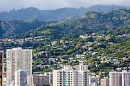 Honolulu and forested slopes of the Koolau Mountain range, Oahu, Hawaii