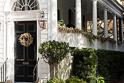 December 21, 2017 - Charleston, South Carolina, United States of America - A historic home decorated for Christmas with wreaths and roping on King Street in Charleston, SC. (Credit Image: © Richard Ellis via ZUMA Wire)