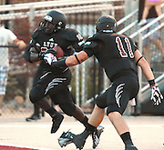 Lindenwood-Belleville player Kameron Harris (22) from East St. Louis, leaps out of his shoe and into the end zone for another Lynx touchdown early in the game.  At right is teammate Rodney Troutman (11).