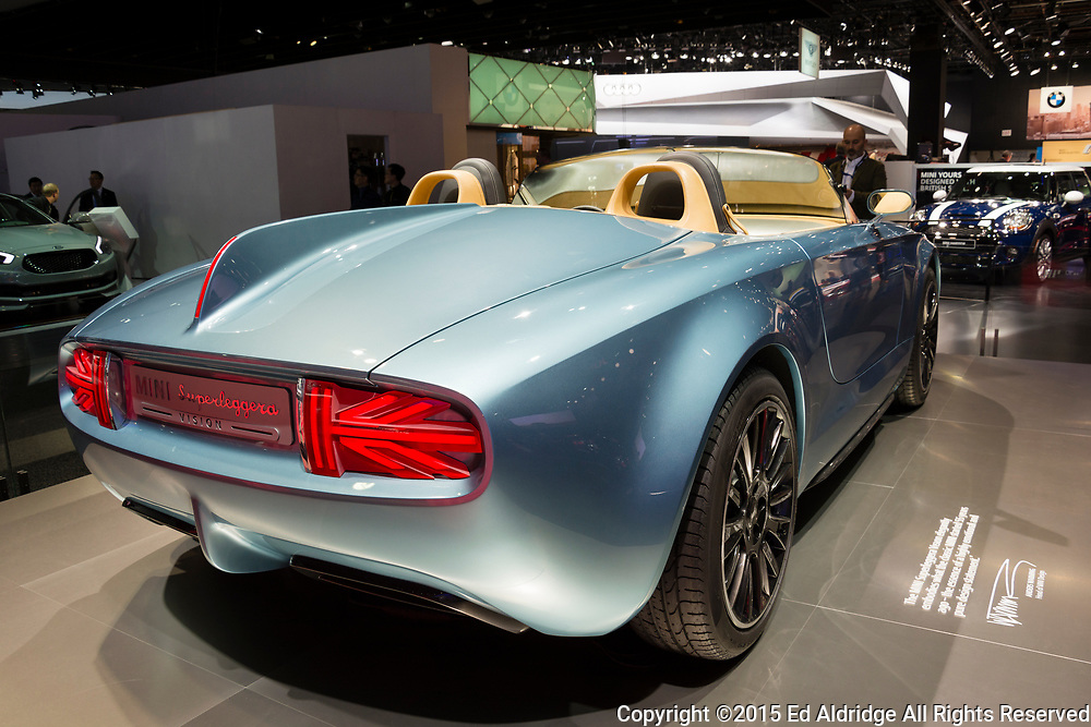 DETROIT, MI, USA - JANUARY 12, 2015: Mini Superleggara concept on display during the 2015 Detroit International Auto Show at the COBO Center in downtown Detroit.