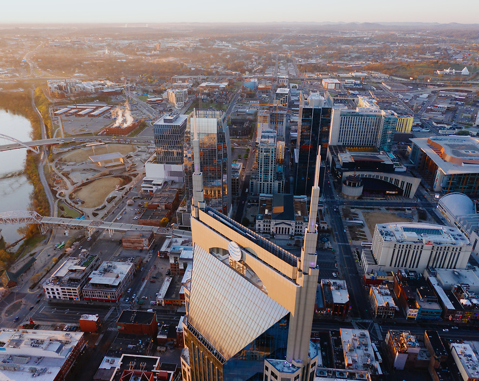 Nashville, Tennessee aerial image, looking south towards the AT&T Building after sunrise.