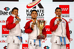 November 11, 2018 - Madrid, Madrid, Spain - Japan Team with gold medal of male Kata Team during the Finals of Karate World Championship celebrates in Wizink Center, Madrid, Spain, on November 11th, 2018. (Credit Image: © AFP7 via ZUMA Wire)