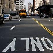 School bus in its lane.