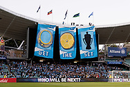 SYDNEY, NSW- NOVEMBER 21: Sydney FC fans hang a banner from the stadium roff at the FFA Cup Final Soccer between Sydney FC and Adelaide United on November 21, 2017 at Allianz Stadium, Sydney. (Photo by Steven Markham/Icon Sportswire)