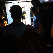 Roger Federer, Switzerland, waits in the tunnel before his match against Tommy Robredo, Spain, on Louis Armstrong Stadium during the Men's Singles competition at the US Open. Flushing. New York, USA. 2nd September 2013. Photo Tim Clayton