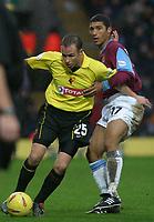 Photographer. Danny Martindale<br />Watford vWest Ham.Nationwide Division 1. 22/11/2003.<br />Paul Devlin (Watford) and Hayden Mullins in action