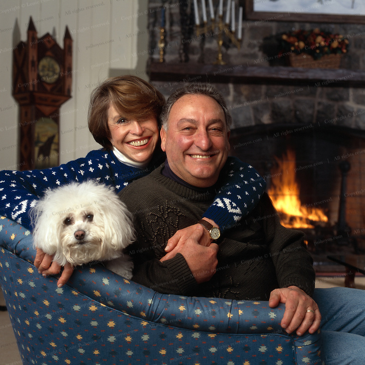 Sandy Weill, chairman of Citicorp Group with wife Joan at his retreat in Saranac Lake, New York.