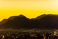 City lights at sunrise, Las Vegas, Nevada USA.