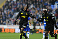 Wigan's Maynor Figueroa © celebrates with fellow scorer Arouna Kone (r) after he scores his sides 3rd goal.Barclays Premier league, Reading v Wigan Athletic at the Madejski Stadium in Reading on Saturday 23rd Feb 2013. pic by Andrew Orchard, Andrew Orchard sports photography,