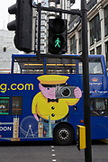 The side of a tour bus in the City of London, on 4th June 2018, in London, England.