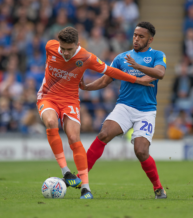 Portsmouth's Nathan Thompson (right) vies for possession with Shrewsbury Town's Alex Gilliead (left) <br /> Photographer David Horton/CameraSport<br /> <br /> The EFL Sky Bet League One - Portsmouth v Shrewsbury Town - Saturday September 8th 2018 - Fratton Park - Portsmouth<br /> <br /> World Copyright © 2018 CameraSport. All rights reserved. 43 Linden Ave. Countesthorpe. Leicester. England. LE8 5PG - Tel: +44 (0) 116 277 4147 - admin@camerasport.com - www.camerasport.com